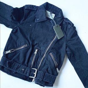 All Saints distressed black denim zipper jacket